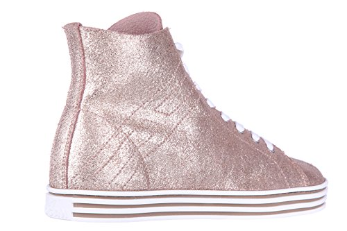 Hogan Rebel scarpe sneakers alte donna in pelle nuove rebel r182 oro