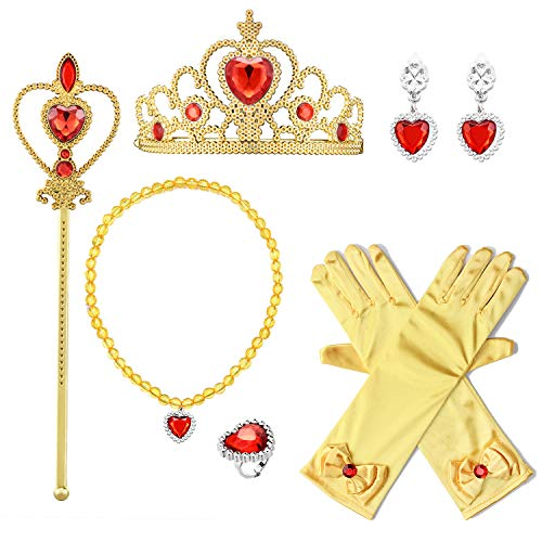 Eccoo House Princess Dress Up Accessories Gift Set for Belle Crown Scepter Necklace Earrings Ring Gloves Yellow 6 - Disney Princesses Glove