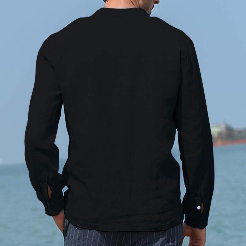 LUXISDE Mens Baggy Cotton Linen Pocket Solid Short Sleeve Retro T Shirts Tops Blouse