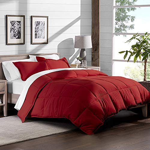 Bare home really tender Premium 1800 Series Goose the means down alternate Comforter Set Hypoallergenic All Season Plush Siliconized Fiberfill complete Queen Red