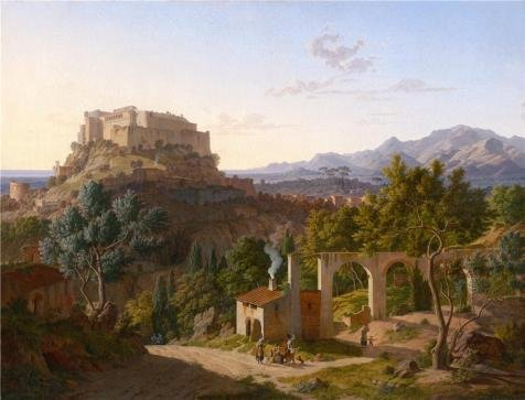 [The High Quality Polyster Canvas Of Oil Painting 'Landscape With The Castle Of Massa Di Carrara, 1827 By Leo Von Klenze' ,size: 10x13 Inch / 25x33 Cm ,this Amazing Art Decorative Prints On Canvas Is Fit For Game Room Artwork And Home Decoration And] (Audreys Costume Castle)