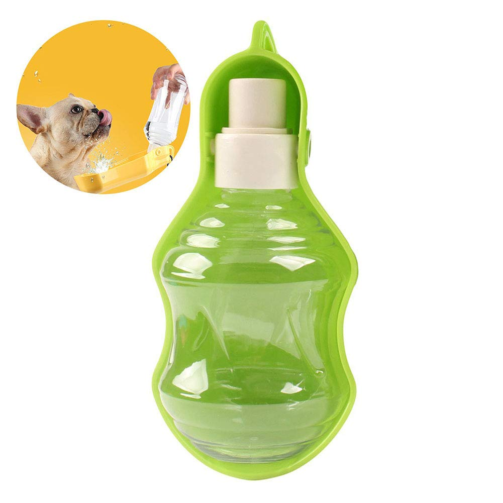 500  Pet Water Bottle,Mive Portable Dog Water Feeder Traveling Bottle con Sink Bowl &Hook for Dog, Cat,Rabbit (Green),500