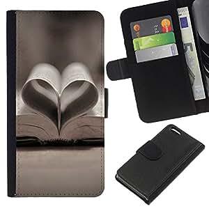 KLONGSHOP // Tirón de la caja Cartera de cuero con ranuras para tarjetas - Amor libro Amor - Apple Iphone 5C //