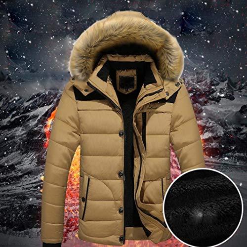 Caldo Da Tomwell Uomo Parka Cappuccio Invernale Termico Cappotto In Giacca Con Rosso Esterno p0v6x0wrq
