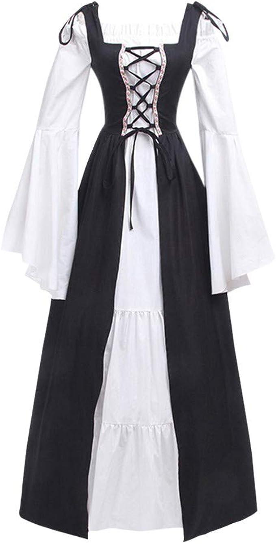 Medieval Renaissance Costumes Dress for Women Trumpet Sleeves Bandage Corset Elegant Gown Vintage Dress Chaofanjiancai