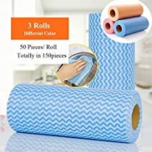 Disposable Dish Cloth Reusable Dish Towels Kitchen Paper Towels Multipurpose Cleaning Towels 3Rolls (Dish Cloth-Muti-Colored)