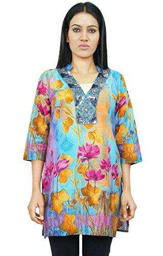 Étnica de algodón puro Kurta impresos Kurti mangas largas mujeres usan ropa india Azul