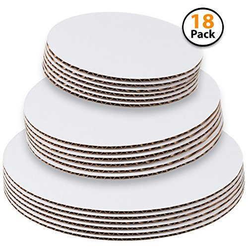 Set of 18 - Cake Board Rounds, Circle Cardboard Base, 8,10 and 12-Inch. Perfect for Cake Decorating, 6 of Each Size ()