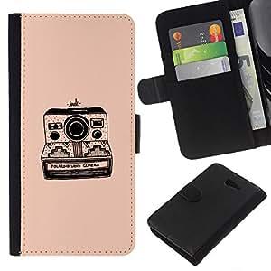 Supergiant (Camera Peach Black Photography Retro) Dibujo PU billetera de cuero Funda Case Caso de la piel de la bolsa protectora Para Sony Xperia M2 / M2 dual