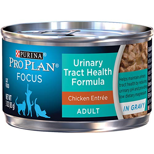 Purina Pro Plan Urinary Tract Health Gravy Wet Cat Food; FOCUS Urinary Tract Health Formula Chicken Entree - (24) 3 oz. Pull-Top Cans (Best Foods For Bladder Health)