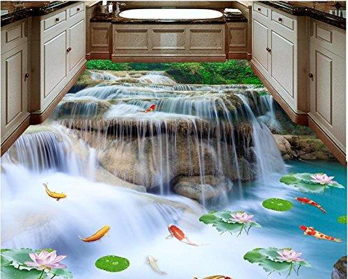 BZDHWWH 3D Flooring Waterfall Lotus Carp Photo Wallpaper for Size Bathroom Living Room Bedroom Lobby 3D Floor Tiles Mural,110Cm X 160Cm by BZDHWWH (Image #3)