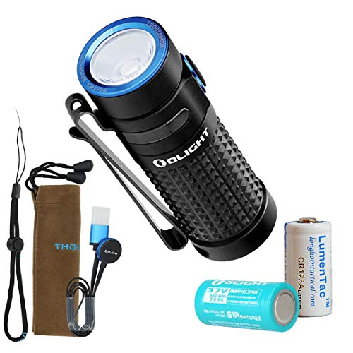 Olight S1R II 1000 Lumen Rechargeable EDC Pocket Flashlight with Olight Rechargeable Battery and LumenTac CR123A Backup Battery