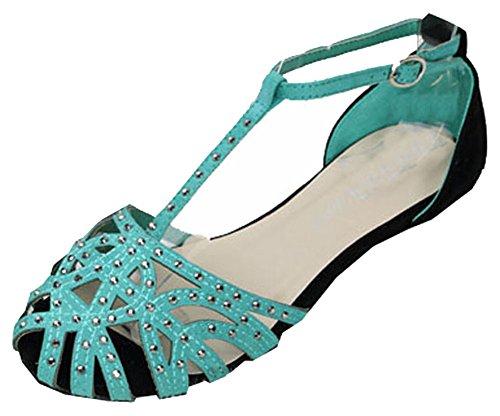 Heißer Verkauf nagelneue Mode Frauen 2015 flache Sandelholze Strass Ausschnitt Sommerschuhe Hochwertige offene Spitze Damen-Schuhe blau