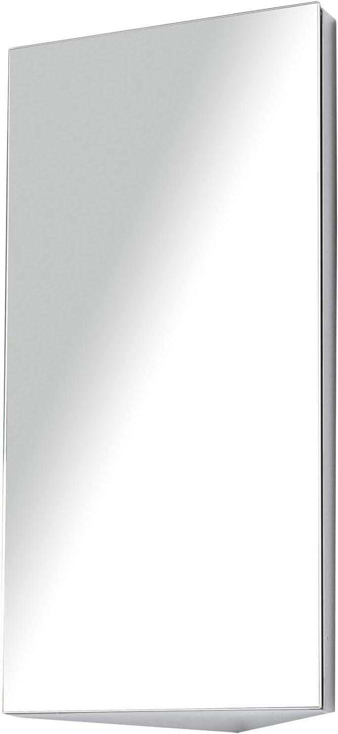 HOMCOM Stainless Steel Wall mounted Bathroom Corner Mirror Storage Cabinet Single Door 300mm (W)