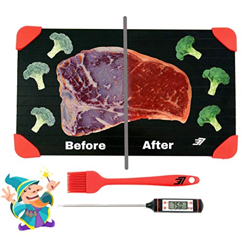 Defrosting Wizard Defrosting Tray LARGEST SIZE Red | Bonus Meat Thermometer, Silicone Brush | Rapid Thawing Plate Superior Quality Quickly Defrost Frozen Foods Without Microwave, Chemicals, Hot ()