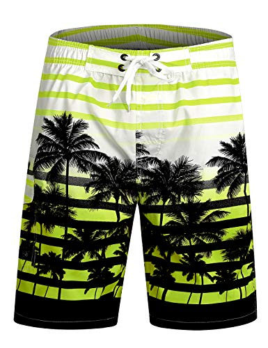 APTRO Swim Trunks Bathing Suits Men Hawaiian Shorts DZSK #1525 Green L