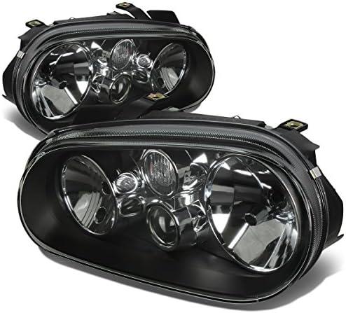 Replacement for Volkswagen Golf MK4 MK IV Pair of Chrome Housing Headlight Lamps Kit