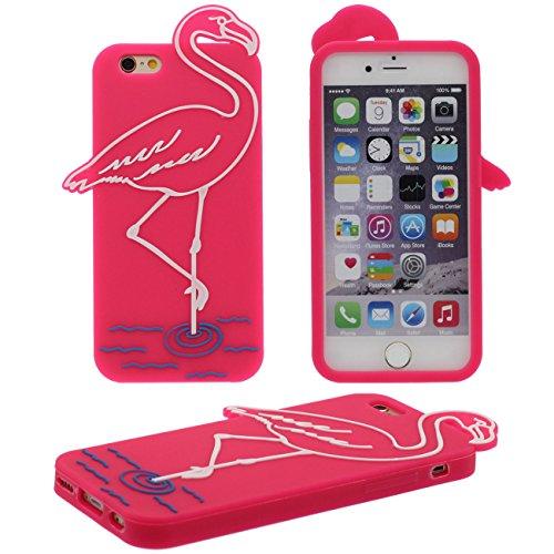iPhone 6S Plus Coque Protection Case, Original Beau Flamant Soulagement Désign Élastique Souple Silicone Gel pour Apple iPhone 6 Plus / 6S Plus 5.5 inch - Rose vif