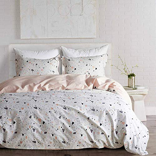 mixinni 100% Cotton Duvet Cover Set Full Queen Size White/Pink Reversible Comforter Cover Geometric Stone Pattern Bedding Sets (1 Duvet Cover + 2 Pillow Shams) (Reversible Cover Duvet)