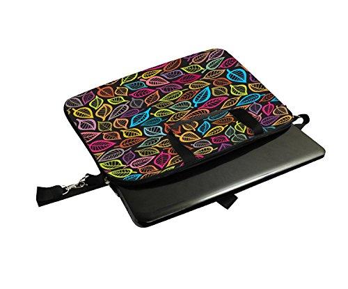 Snoogg Pink Leaves weiß Muster Laptop Netbook Computer Tablet PC Schulter Schutzhülle mit Sleeve Tasche Halterung für Apple iPad/HP TouchPad Mini 210/Acer Aspire One und die meisten 24,6cm 25,4cm 25