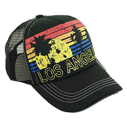 (Bingoo Beach City Landscape Printed Mesh Hat Adjustable Summer Cool Baseball Cap (Los Angeles))