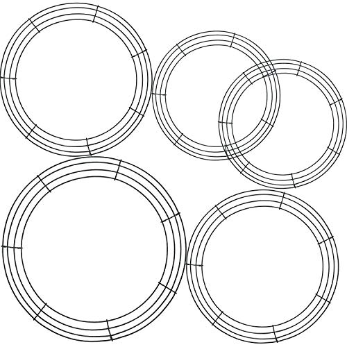Tatuo 5 Pieces Metal Wreath Frame Ring Round DIY Macrame Floral Crafts Wire Wreath Form St. Patrick's Day Easter Memorial Day 4th of July Decoration Door Craft (14 Inch, 12 Inch, 8 Inch)