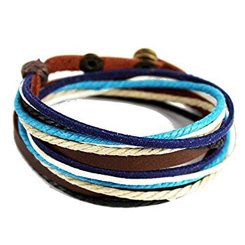 de Multilayer Wraps Colorful Cords Leather Bracelet Blue ()