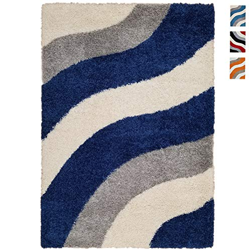 Shag Area Rug 5x7 | Wave Curve Sapphire Blue Gray Ivory Shag Rugs for Living Room Bedroom Nursery Kids College Dorm Carpet by European Made MH10 Maxy Home ()