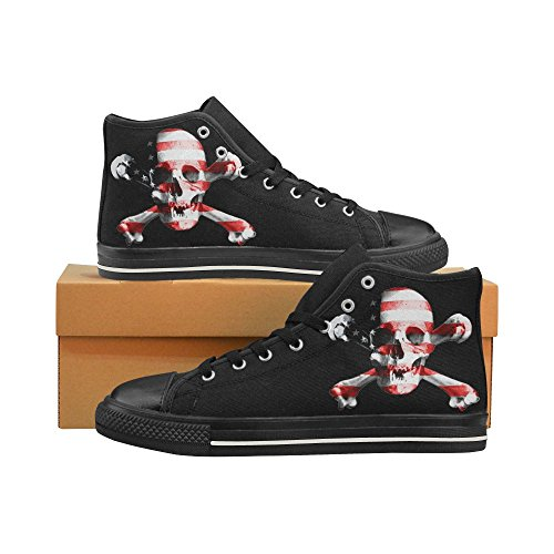 D-Story Custom Jolly Roger Skull Mens Classic High Top Canvas Shoes Fashion Sneaker