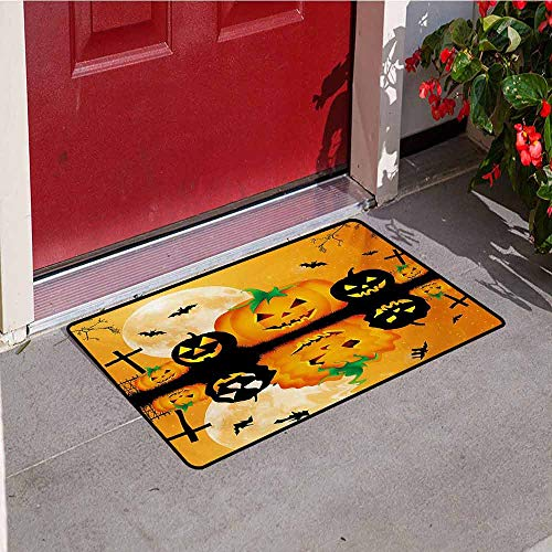 Jinguizi Halloween Commercial Grade Entrance mat Spooky Carved Halloween Jack o Lantern and Full Moon with Bats and Grave Lake for entrances garages patios W35.4 x L47.2 Inch Orange Black -
