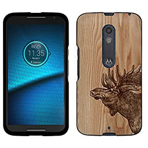 Motorola Droid Maxx 2 Case, Snap On Cover by Trek Sketched Moose on Wood Case