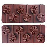 Axe Sickle (2 per pack) Silicone Hard Candy Lollipop Molds with Sticks DIY Chocolate Fondant Mould for Cake Decorations (Round)