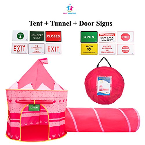 Play Kreative Princess Castle PlayTent with Crawling Tunnel – Kids Pink pop up Tent Playouse with Carry Case. For Indoor/Outdoor Camping and Play. Children activity center
