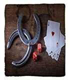 Chaoran 1 Fleece Blanket on Amazon Super Silky Soft All Season Super Plush Saloon Decor Collection Horseshoes Lucky Card Game Dice Ace of Hearts Number Nine Poker Picture Pattern Fabric et Red Gray