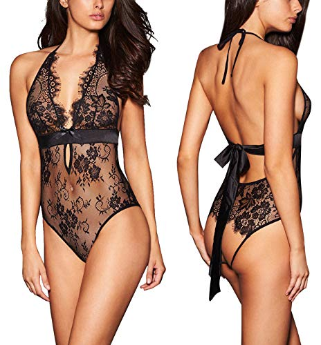 ALLoveble Women Sexy Lingerie See-Through Backless Lace Babydoll Open Crotch Teddy Underwear...