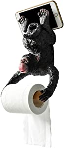 Yooce Monkey Toilet Paper Roll Holder Bathroom Tissue Holder Wall Mount Home Decor with Mobile Phone Storage Shelf