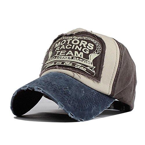 Xuzirui Baseball Cap Vintage Motors Racing Team Snapback Hat Cotton Motorcycle Hat Hip Hop Patchwork Grinding Hats for Men Women (Navy Blue)