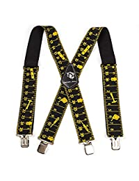 """Mens Suspenders 2"""" Wide Adjustable and Elastic Braces X Shape with Very Strong Clips - Heavy Duty (Black Tape) (Black Rule)"""