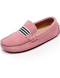 Shenn Boys Girls Fashion Strap Slip-On Suede Leather Loafer Flats 2998