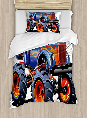Man Cave Decor Duvet Cover Set by Ambesonne, Cartoon Monster Truck Huge Tyres Off-road Heavy Large Tractor Wheels Turbo, 2 Piece Bedding Set with 1 Pillow Sham, Twin / Twin XL Size, Multicolor