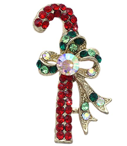 (Christmas Red Candy Cane Ribbon Brooch Pin Necklace Pendant Women Jewelry)
