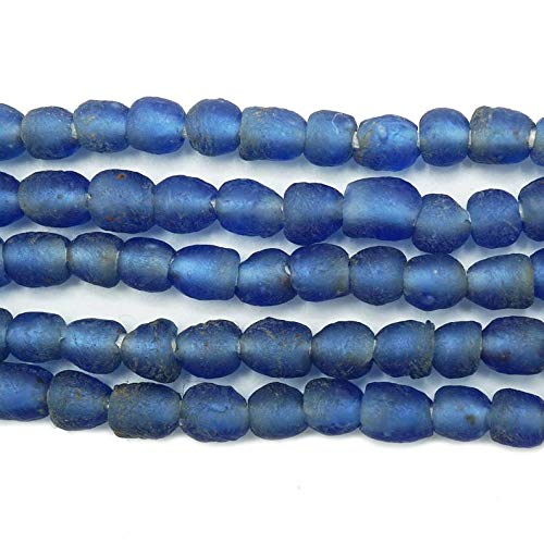 Unique Selection Beads - 70 Tiny Recycled Glass Beads (6.5mm) - Sapphire Blue - African Fair Trade - Wholesale - Krobo Tribal Trade Beads - Made in Ghana (1014B16)