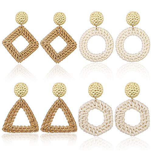 AIDSOTOU Rattan Stud Earrings for Women Lightweight Geometric Statement Earrings Handmade Straw Wicker Braid Rhombus Hoop Drop Dangle Earrings 4 Pairs (C:4pc-Waterdrop)
