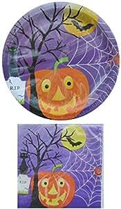 1 X Halloween Jack-O-Lantern Paper Plate & Napkin Set for 18
