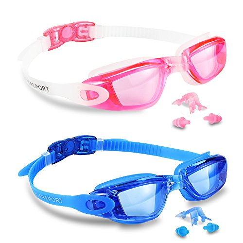 EVERSPORT Swim Goggles, Pack of 2, Swimming Glasses for Adult Men Women Youth Kids Child, Anti-Fog, UV Protection, Shatter-proof, Watertight(Blue&Pink) -
