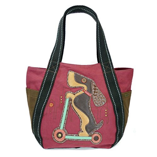 Tote Handbag Print Animal (Chala Carryall Zip Tote, Canvas Handbag, Top Zipper, Animal Prints (Scooter Dog-burgundy))
