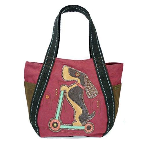 Print Charming Dog (Chala Carryall Zip Tote, Canvas Handbag, Top Zipper, Animal Prints (Scooter Dog-burgundy))