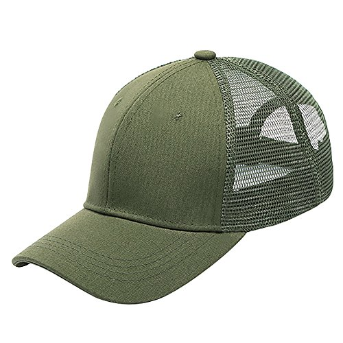 Glamorstar Baseball Cap Ponytail Messy Buns Trucker Plain Ponycaps Army (Trucker Green)