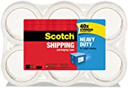 "Scotch Heavy Duty Shipping Packaging Tape, 6 Refill Rolls, 1.88"" x 54.6 Yards, 3"" Core, Clear, Great"
