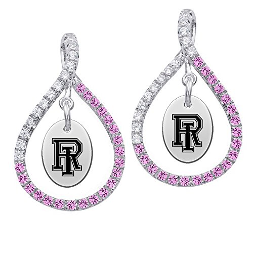 Rhode Island Rams Pink CZ Figure 8 Earrings by College Jewelry